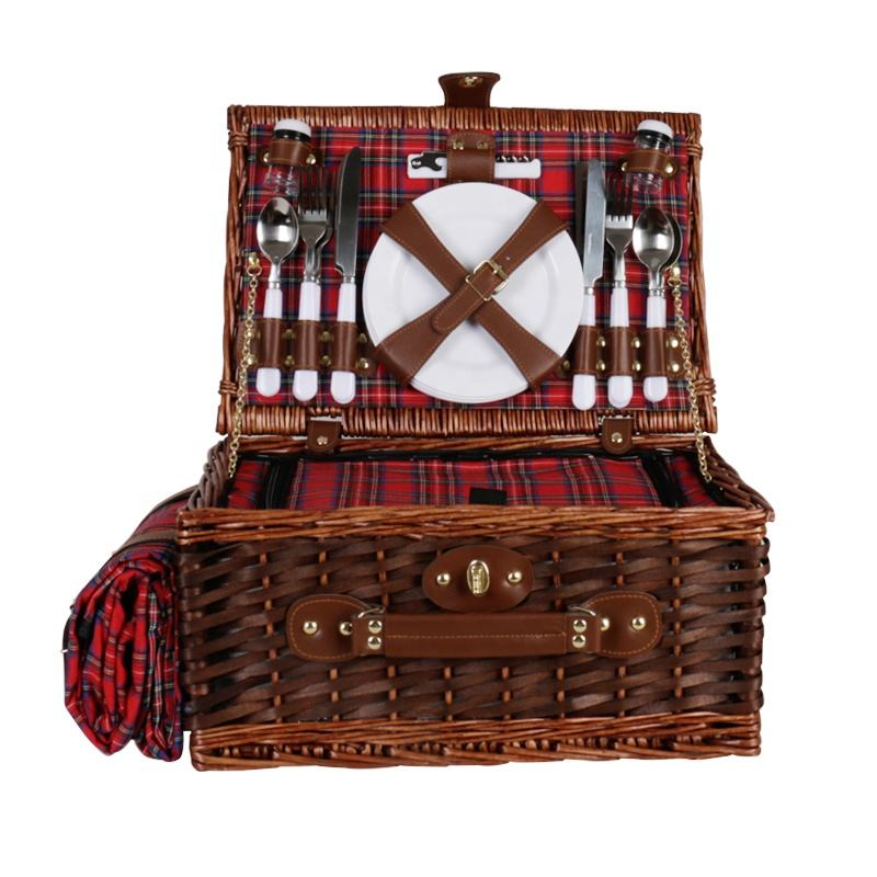 4Persons Hamper with Blanket Gift Basket Set Wicker Picnic Basket