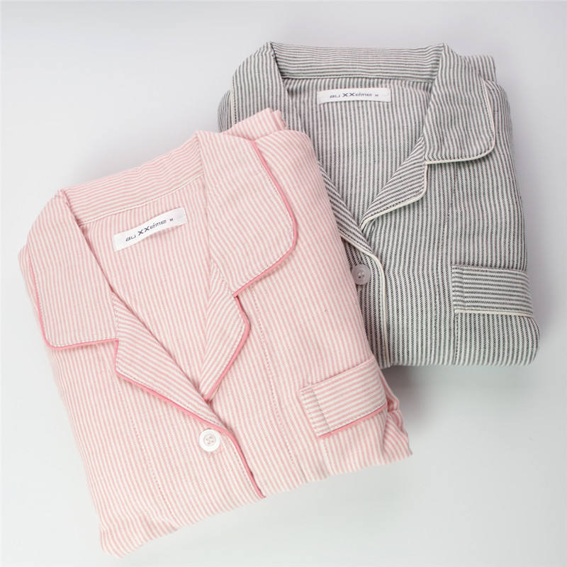 OEM 100% Cotton Sets Women Long Sleeve Striped Pink Pajamas