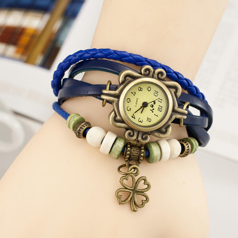 Free shipping Fashion Ladies Vintage Quartz Leather Braided Charm Lady Watch Women Wrist Watch