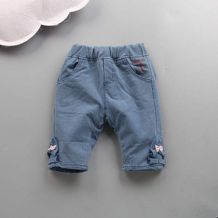 Casual baby girls pant knitted jeans Embroidered girl trousers new 2018