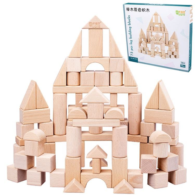 Promotional 75 pieces kids Custom Colorful Wooden composite Building Blocks Toys for block printing