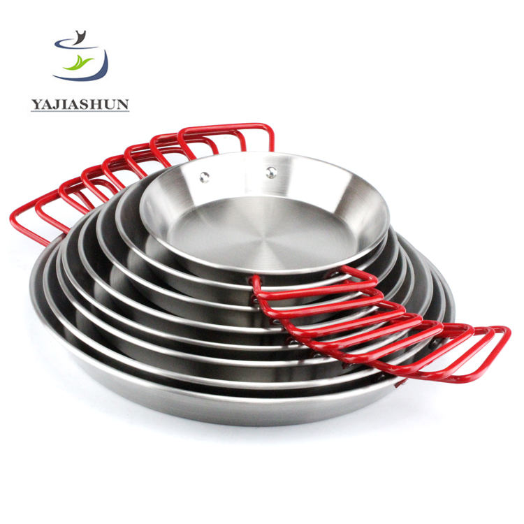 Wholesale Kitchen Appliances Stainless Steel Seafood Pan/Mini Paella Pot Frying Pan Set