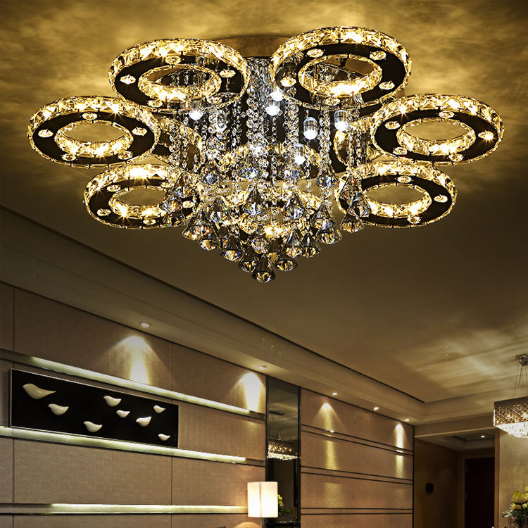 LED contemporary crystal chandelier zhongshan lighting factory dewdrop crystal crystal ceiling light for indoor lighting