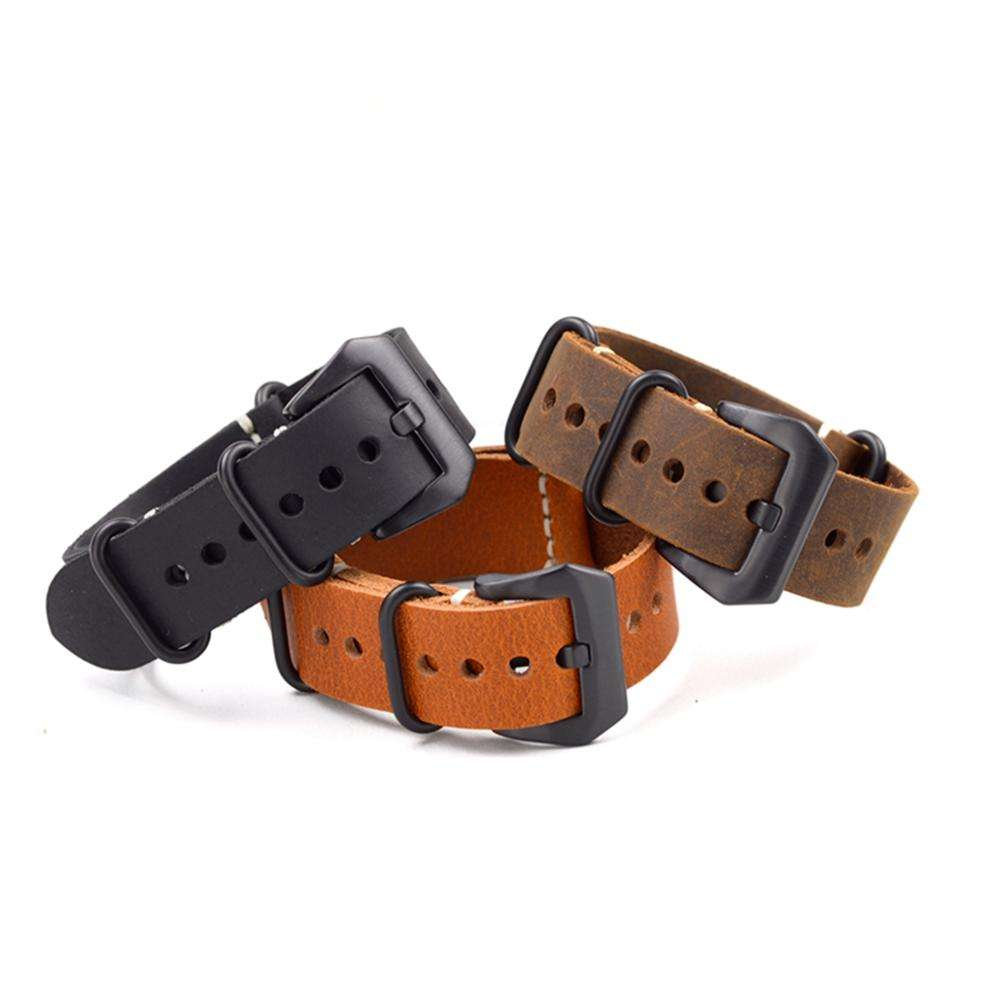 EACHE Top Quality Crazy horse Leather Watch Band 20mm 22mm 24mm Silver&Black Buckle/Rings ZULU Leather Watch Band