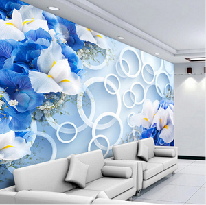 India Modern Table 3D Circles Blue Floral Non-woven Fabric Wallpaper Wall Mural