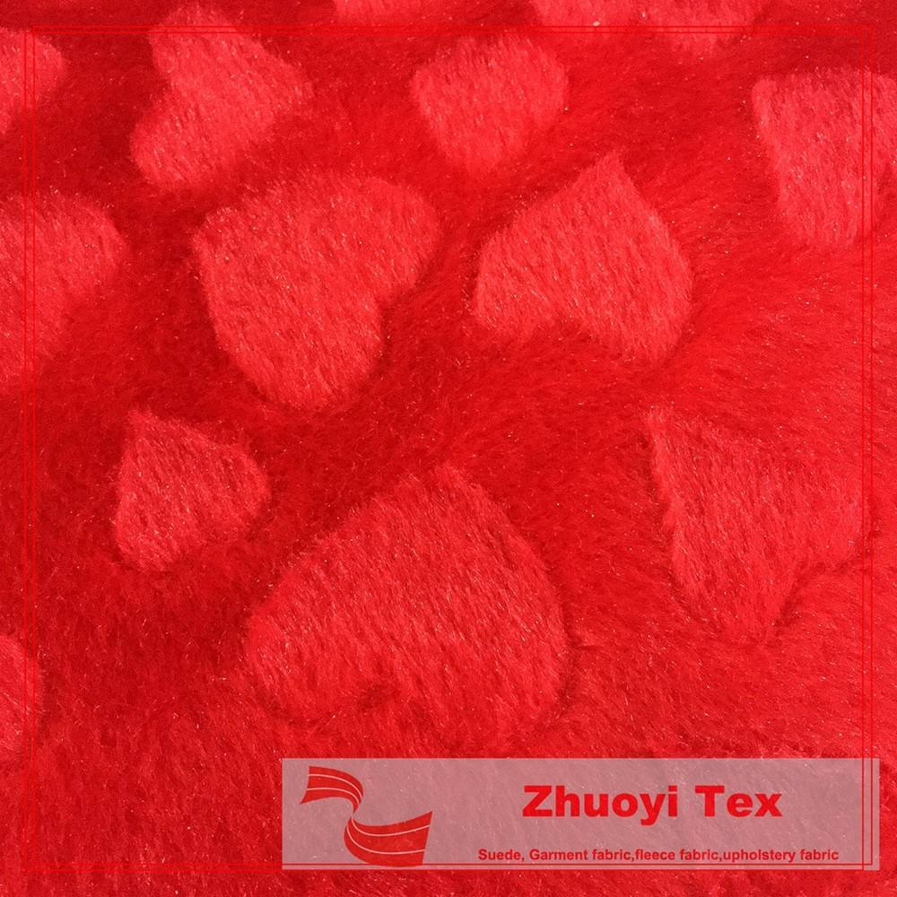 fashion loving heart microfiber brushed polyester velour fabric