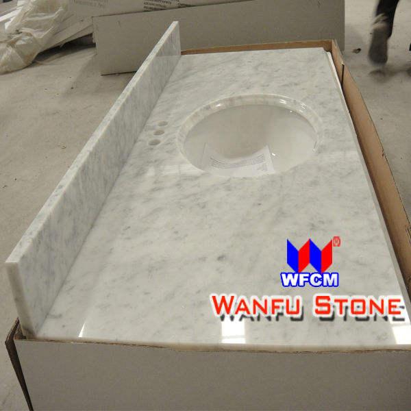 bianco carrara marble stone vanity top avec dosseret