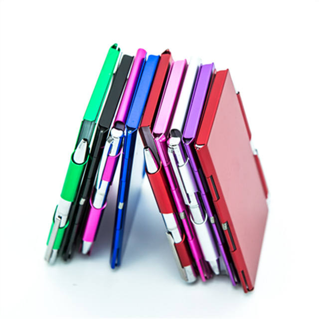 Bloc-notes en aluminium avec mini stylo pour un transport facile et Bloc-Notes-AMASSAN
