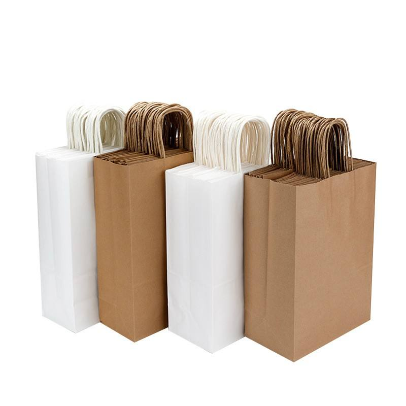 White And Brown Kraft Paper Twisted Handle Shopping Carrier Bag With Logo Printed