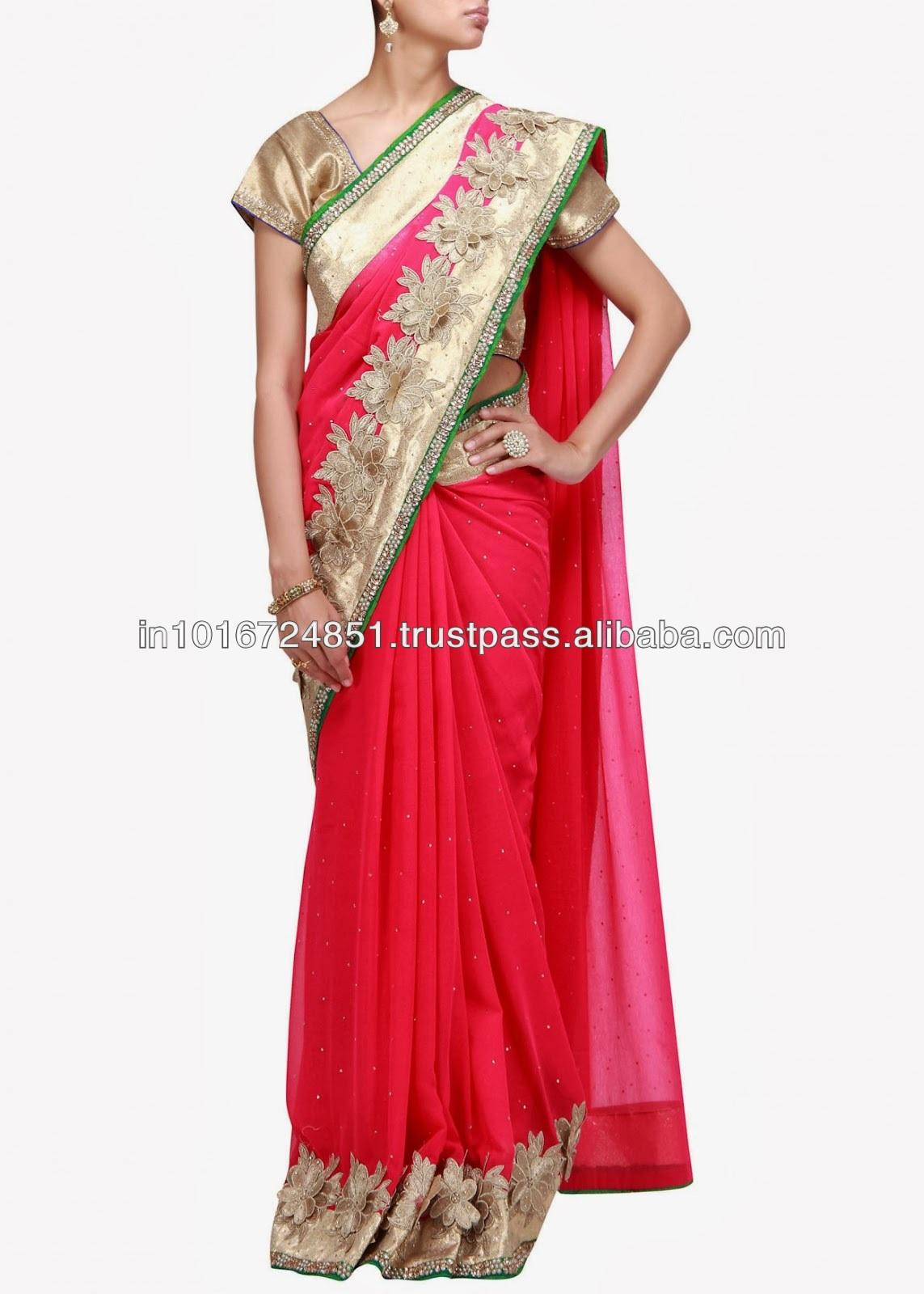 Indian Designer Red Applique saree 2017