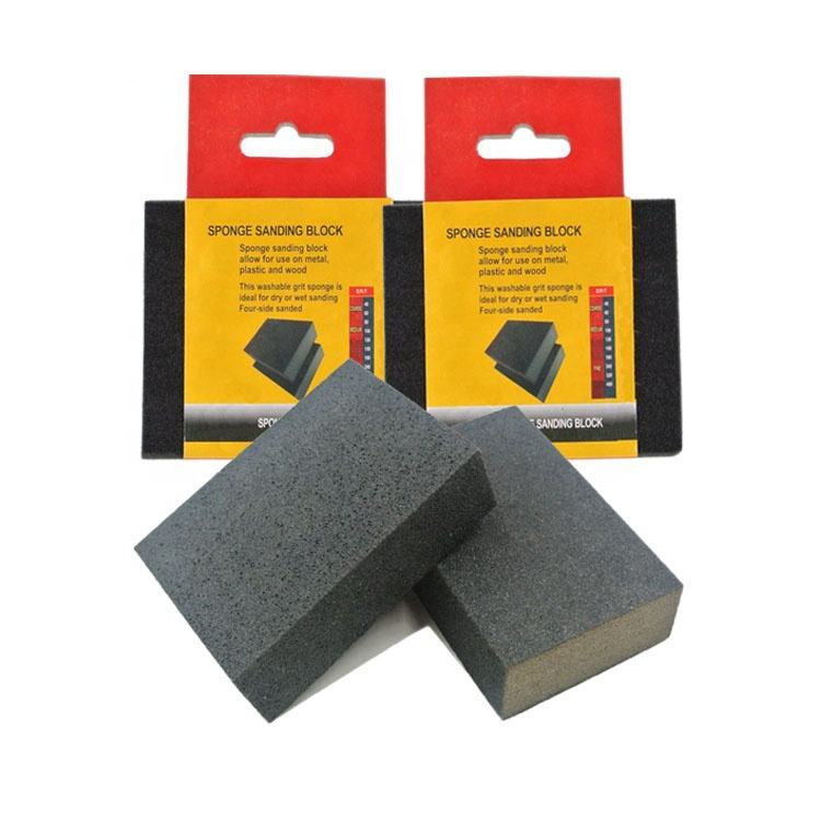 SATC 4 Sides Wet or Dry Sanding Blocks for Drywall and Metal Rust Removal, Medium Density Foam Sponge, 6-Pack