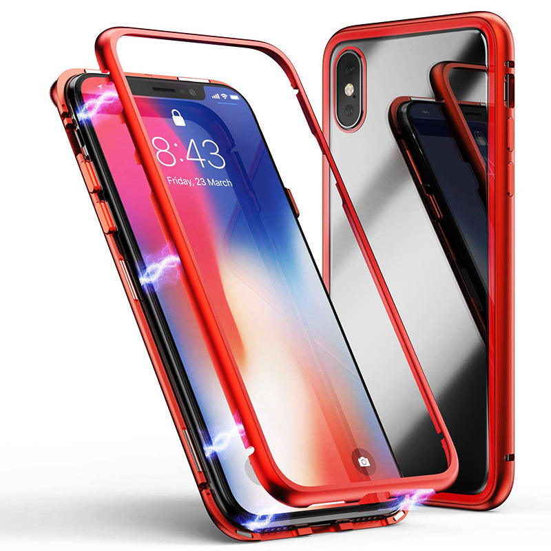 Ultra Slim Magnetic Adsorption Metal Case Hard Clear Tempered Glass Back Cover for iPhone XS/XS MAX/XR