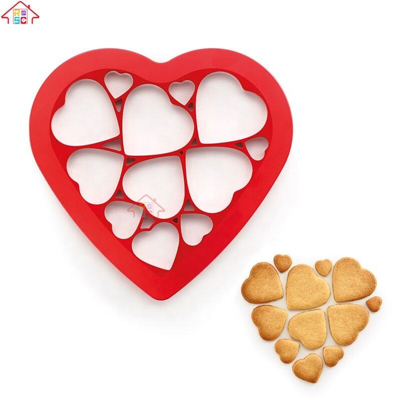 12 Pcs Manual Plastic Love Heart Shape Cookie Cutter Different Size Heart Cookie Cutter
