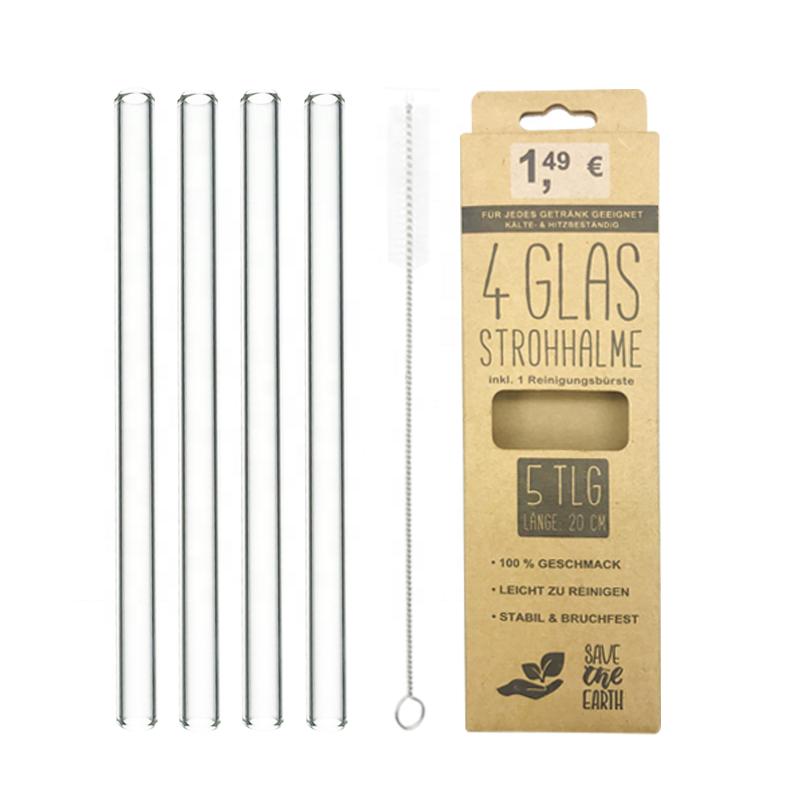 FDA approved glass straws bent stained milkshake straw reusable straw