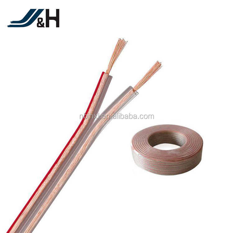 3.0mm [ Awg Speaker Cable ] Speaker 16 Awg Cable RoHS Approval 2C*16 AWG OFC Flat Flexible Transparent PVC Speaker Cable