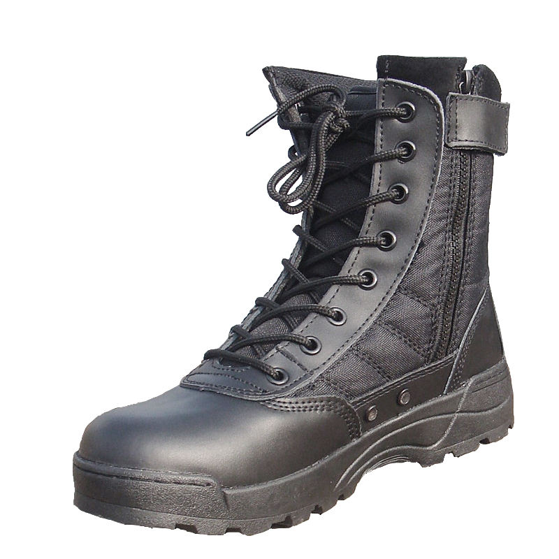Military Tactical Boots black patent leather military boots
