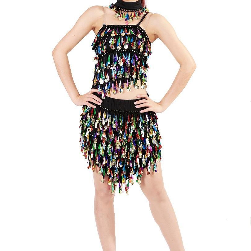 Wholesale Lady Sexy Belly Dance Tops Skirt Sequined Halloween Costume Dress Skirt Party Nightclub Dancewear Performance Outfits