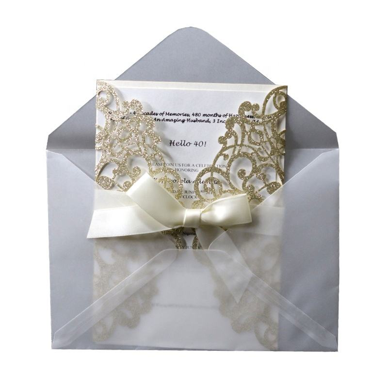 ready to ship 12.5x18cm glitter gold silver wedding cards floral laser cut invitation cards