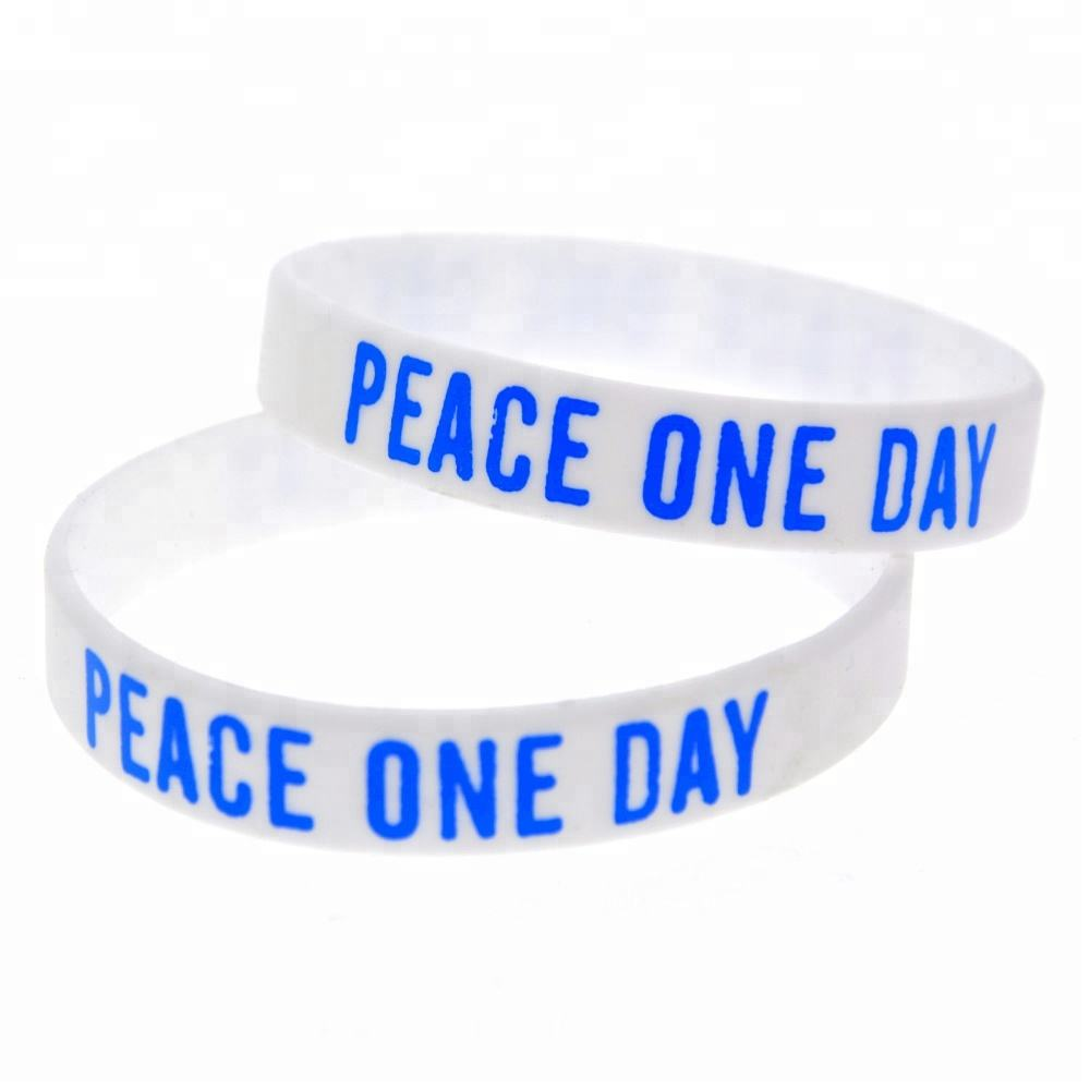 50PCS White Peace One Day Silicone Wristband Bracelet