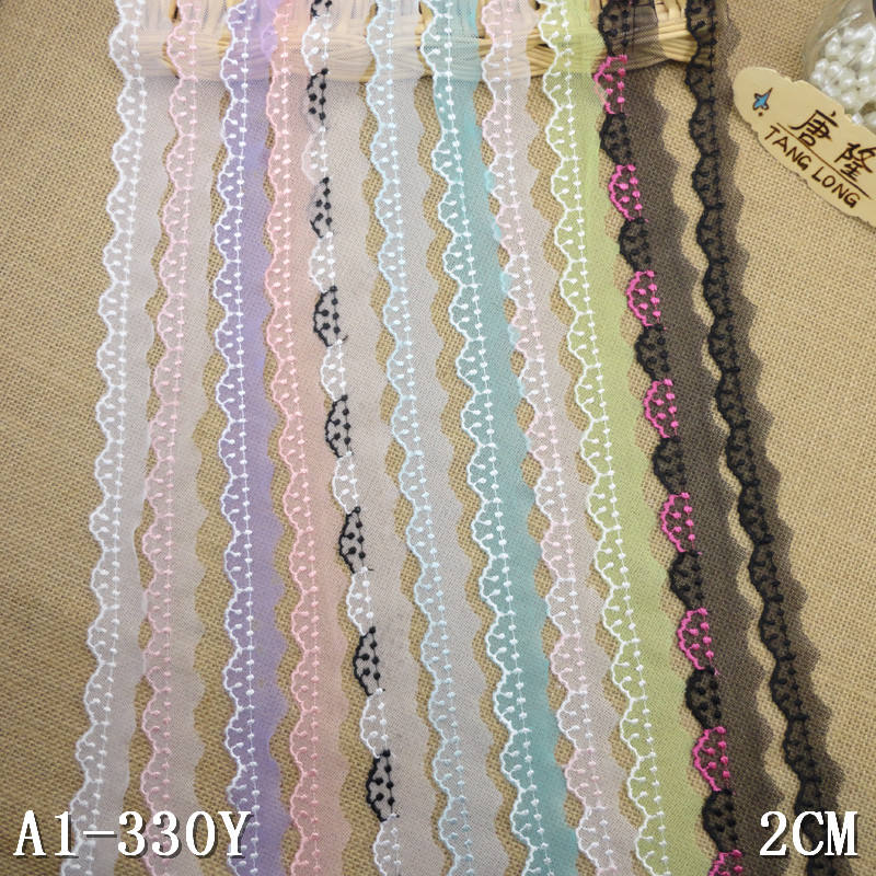 wholesale discounted china multi-color embroidered net lace trimming