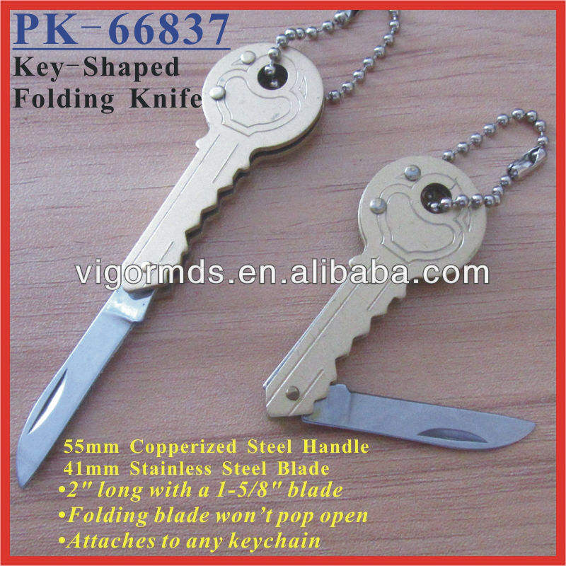 "(PK-66837) 2"" Long Copperized Steel Key-Shaped Folding Pocket Knife"