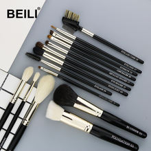BEILI Black silver luxury 14 Pieces make up brushes Natural pony goat hair Professional makeup brushes set Accept private label