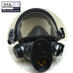 Full face anti riot gas mask with two filters