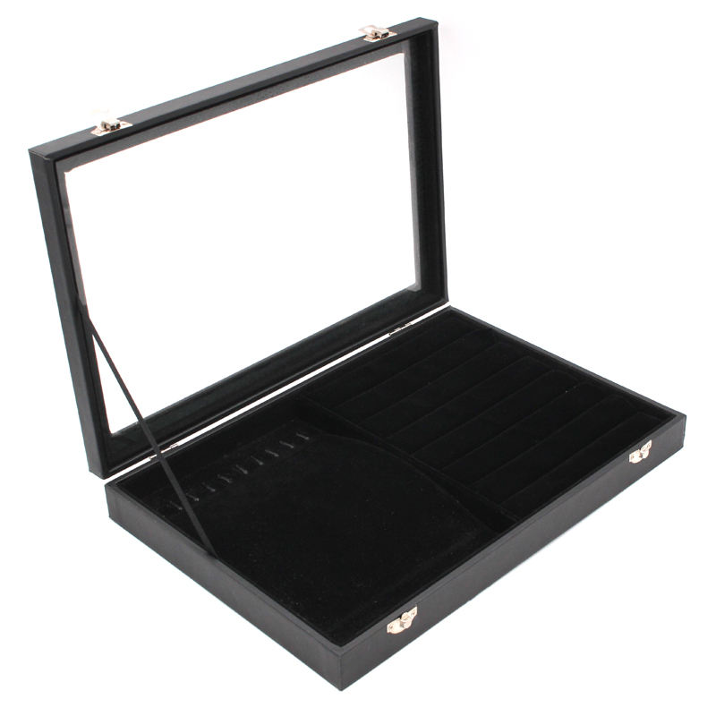 Velvet Carrying Case with Glass Cover Jewelry Ring Display Box Tray Holder Storage Box Organizer
