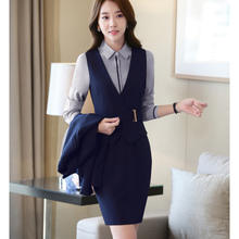latest women sexy formal business sleeveless blazer and skirt suit