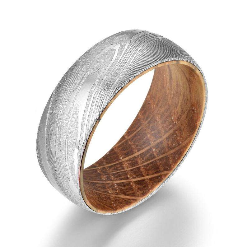 Whisky Barrel Wood Mens Wedding Ring Twist Damascus Steel Mens Wedding Band