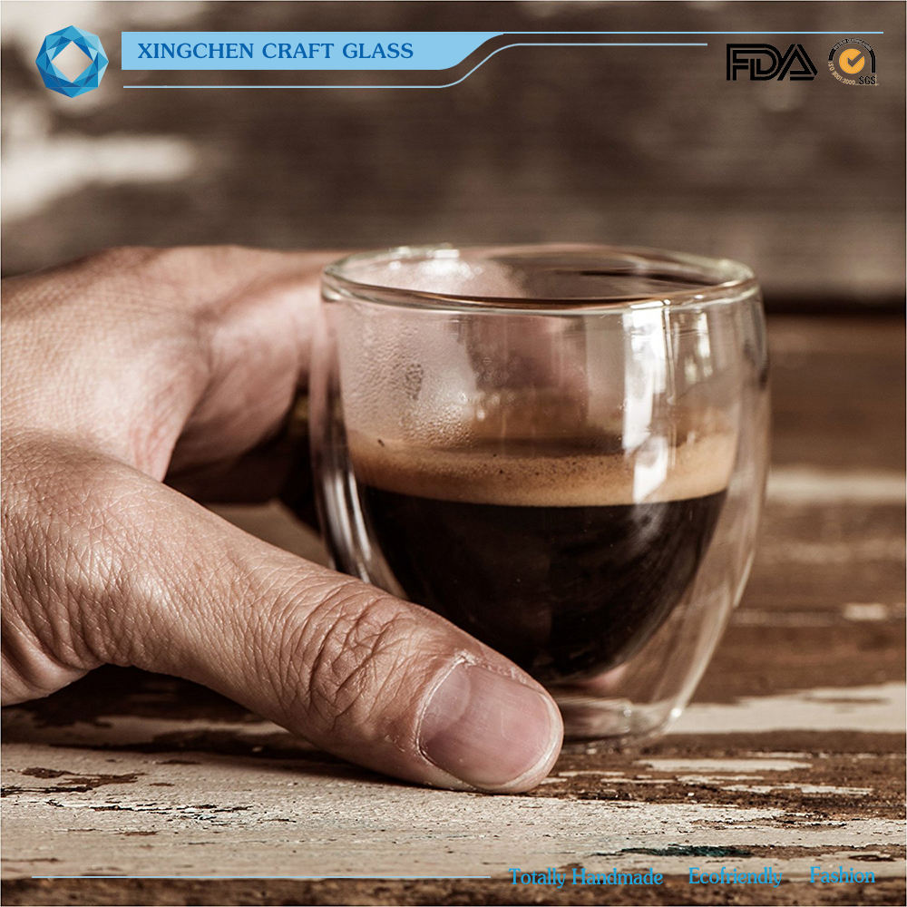 Eco-Friendly [ Cups Saucer ] Espresso Cups Easy Clean 2oz Double Wall Shot Glasses Espresso Cups And Saucer