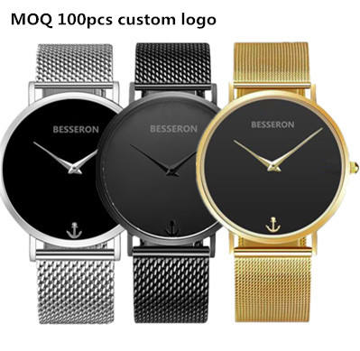 Simple clean design quartz watches bezel japan movt , small quantity watch manufacturer embossed anchor watch