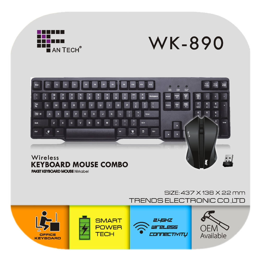 WK-890 2.4G Wireless Combo <span class=keywords><strong>komputer</strong></span> <span class=keywords><strong>Keyboard</strong></span> dan mouse Nirkabel