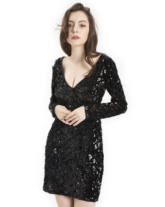 Luxury Fashion Girls Sexy V Neck Sequined Embroidered Club Wear Dresses