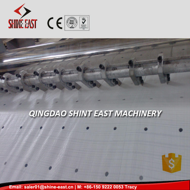 PP Woven Fabric Bag mulch film Sheet punching Perforation Machine with cutting equipment zig zag