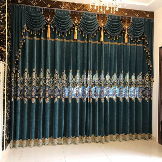 home curtain luxury embroidery blackout drapes curtain with valance