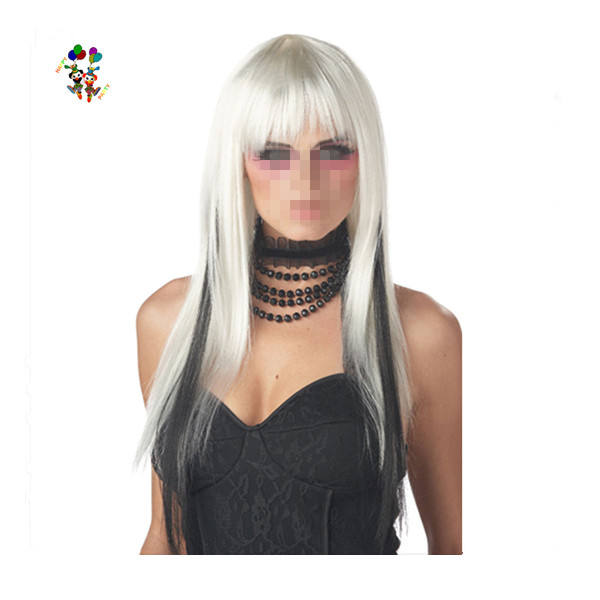 Long White With Black Chopsticks Witch Halloween Party Wigs HPC-0081