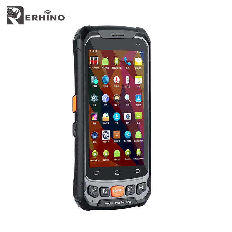 IP65 กันน้ำ 4.7 นิ้ว 2 กรัม 16 กรัม Android 7.0 PSAM 1D 2D barcode scanner Android PDA RFID Reader ปืนพก Grip