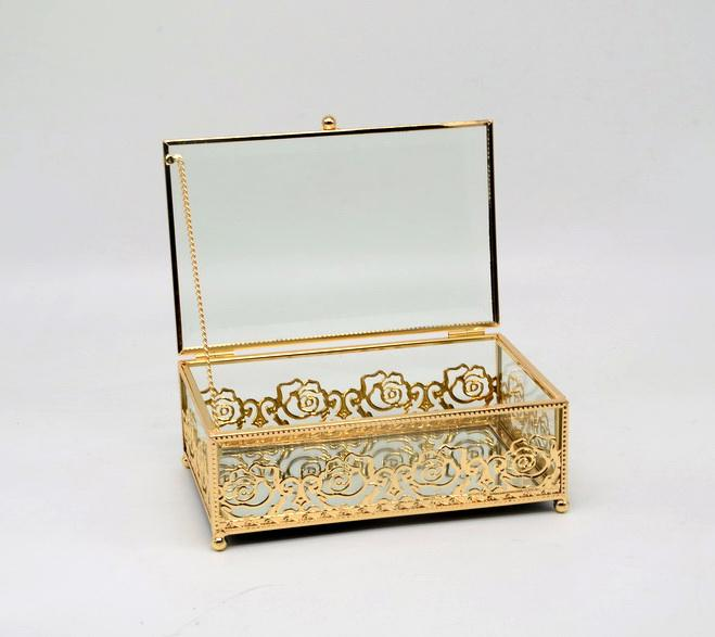 Wholesale Glass Jewelry Gift Box Storage Organizer with Gold Frame for the Flower Girl, Bridesmaids, Maid of Honor, Mother's Day