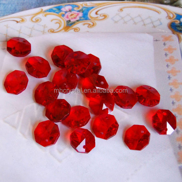 Red Crystal Lamp Octagon Bead MH-12245