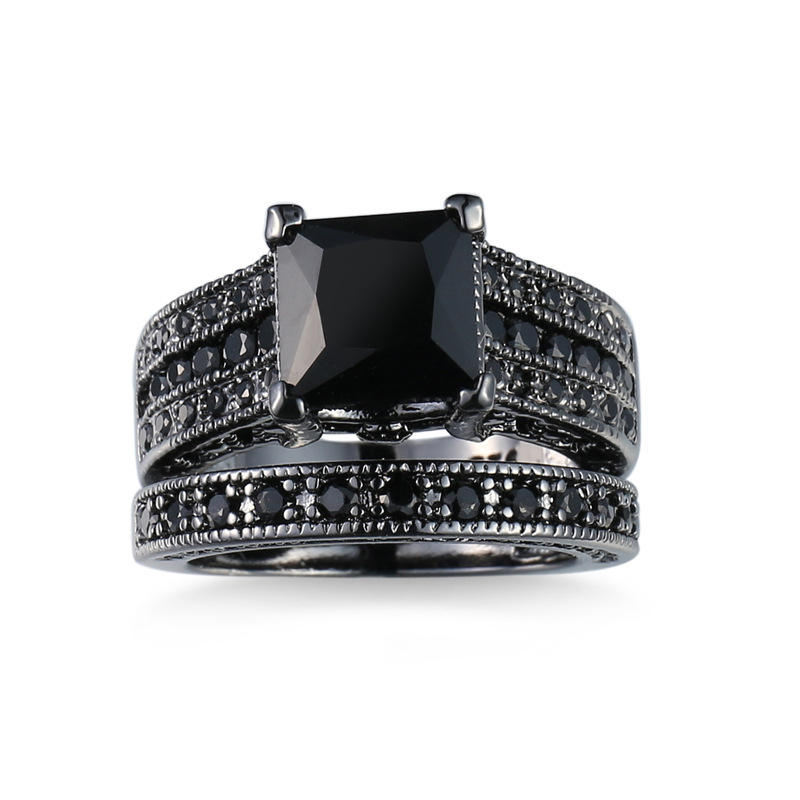 Black Gold Plated Colorful Crystal CZ Zircon Wedding Fine Ring Set 925 Silver Couple Ring with Black Stone