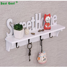 "Decorative Heavy Duty ""Sweet Home"" White Wooden Wall Hook Rack"