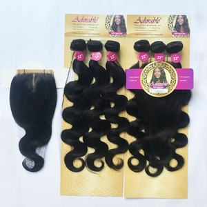 Adorable body wave remy human hair weave 4pcs/lot with free closure,100% remi hair extensions 4*4 front lace closure 4pcs/set