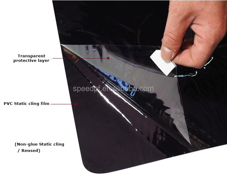 Non-glue reused removable silicone PVC static cling window film for car