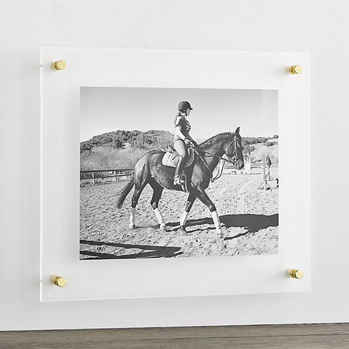 Transparante Wall Mount Acryl <span class=keywords><strong>4X6</strong></span> Gallery Frames Plexiglas Drijvende Houder Foto Frameloze Frame