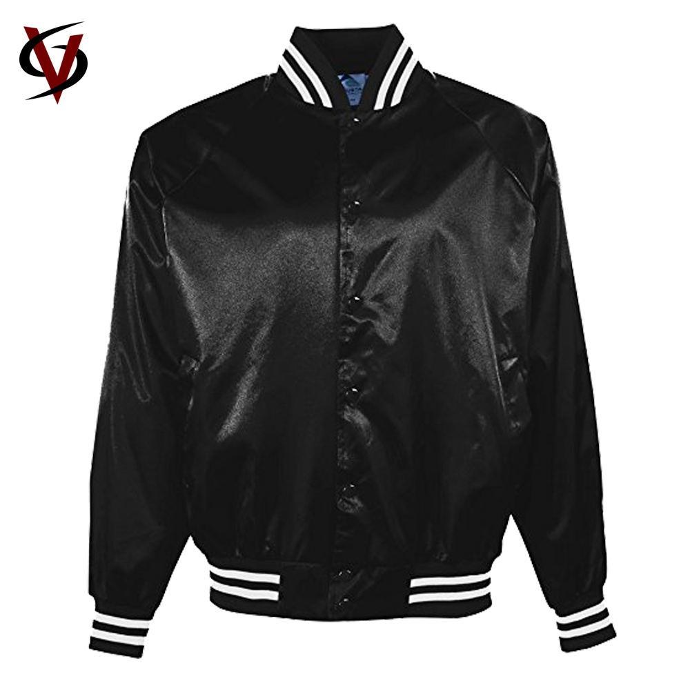Custom wholesale 100% polyester satin varsity bomber baseball jacket winter men jackets