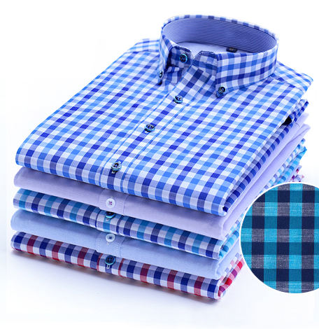 custom pattern and material causal design cotton plaid mens shirts