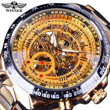 Winner Luxury Mens Gold Silver Skeleton Mechanical Watches Casual Mesh Band Hand-Wind Wristwatch Montre Homme