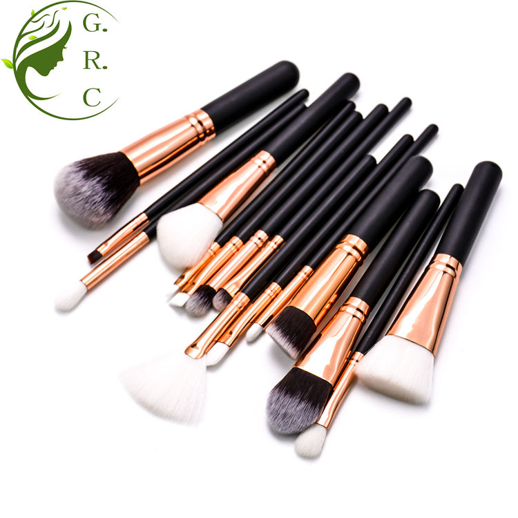 15 Pcs High Quality Professional Vegan Black Manufacture Wholesale Custom Logo Brand Private Label Makeup Brush Set With Case