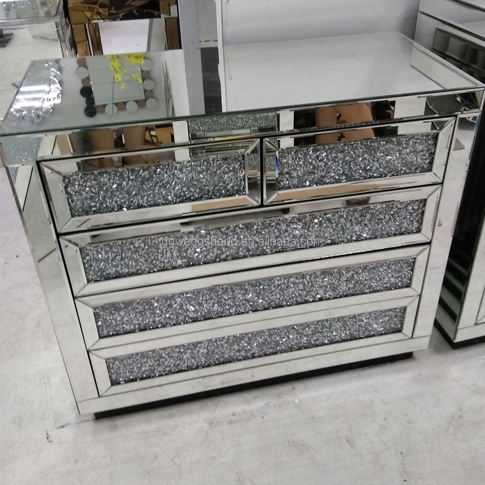 Sparkly Diamond 5 Drawers New Design Cabinet